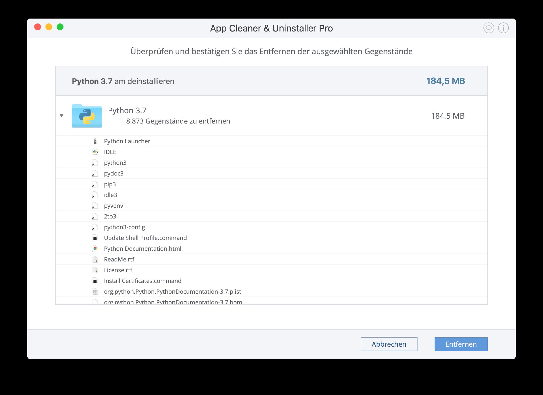 deinstallieren python auf dem mac mit app cleaner