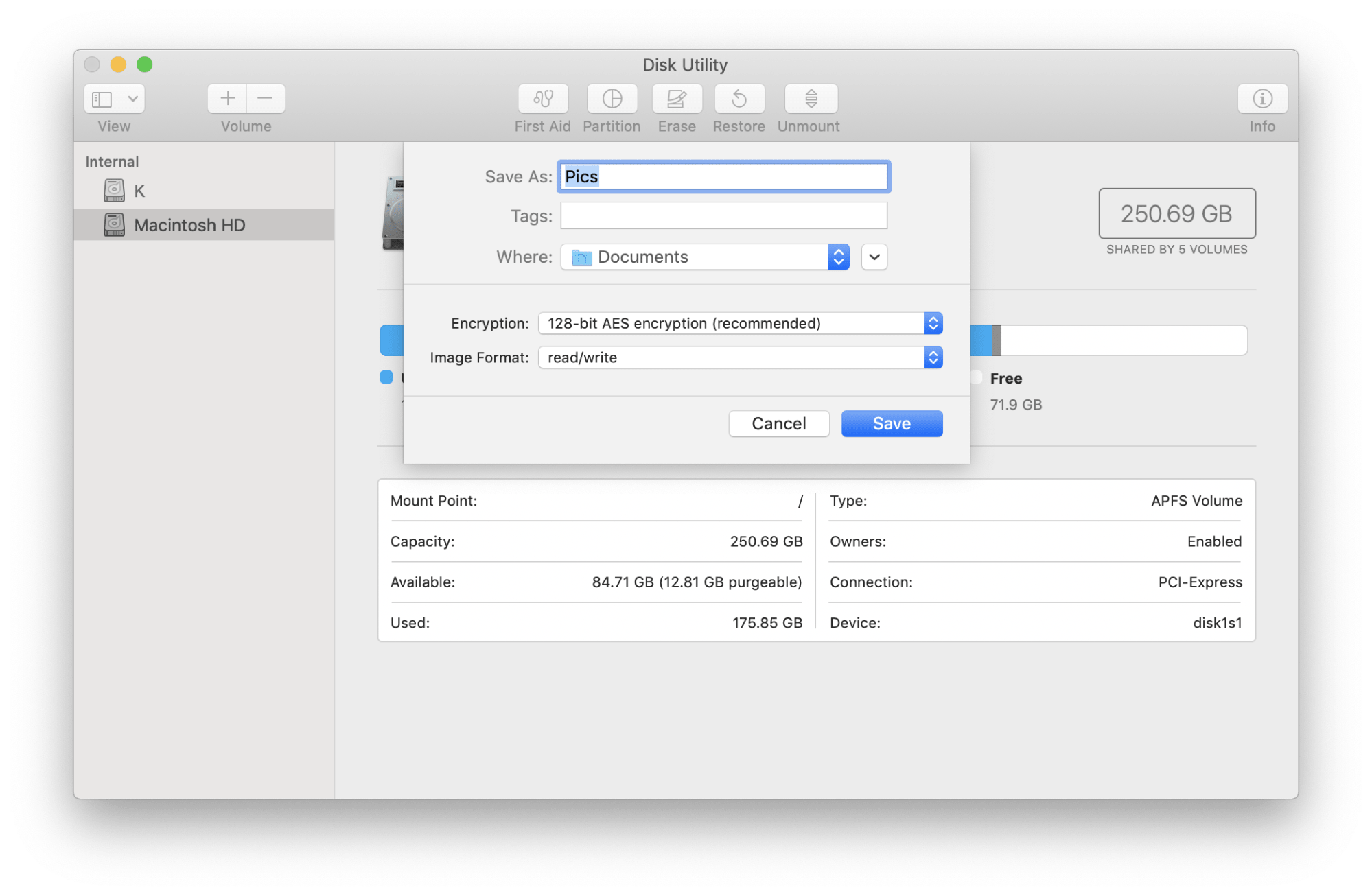 New disk image options panel