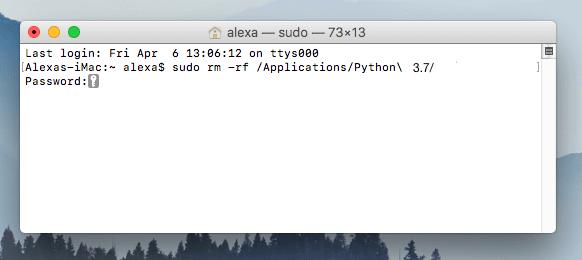 uninstall python from mac