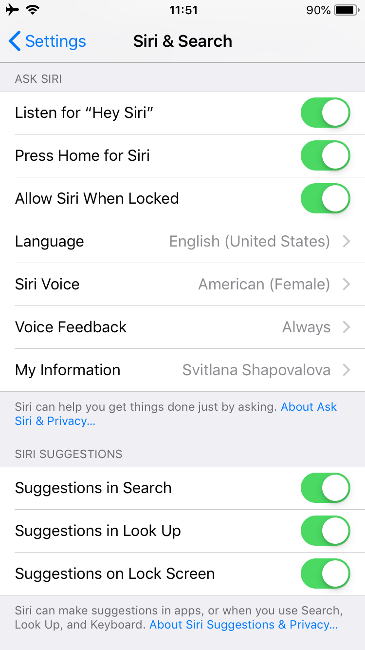 how to get to siri settings