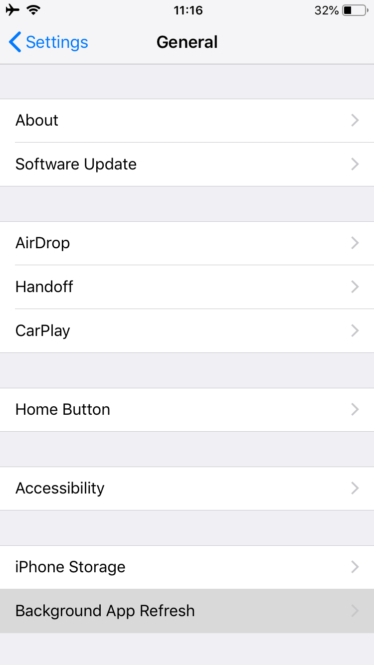 General section in iPhone settings