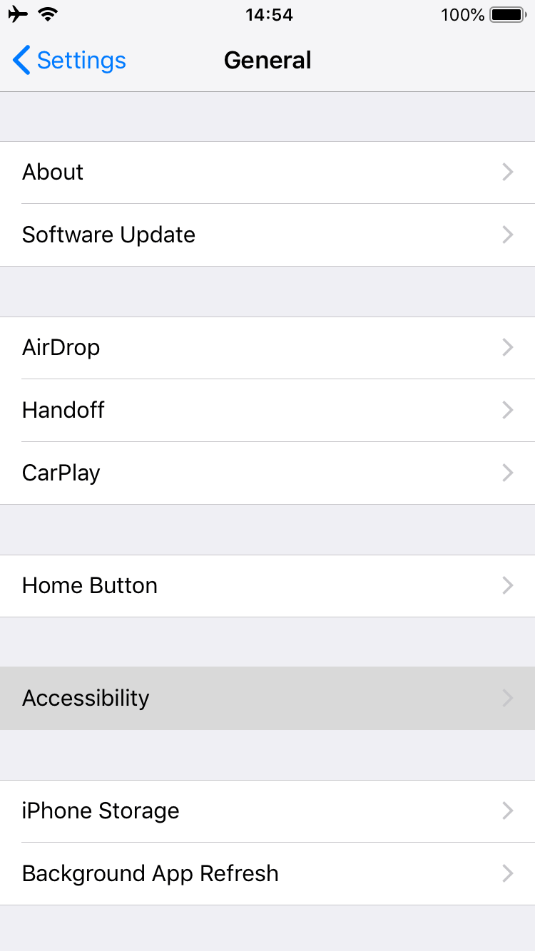General settings screen on iPhone