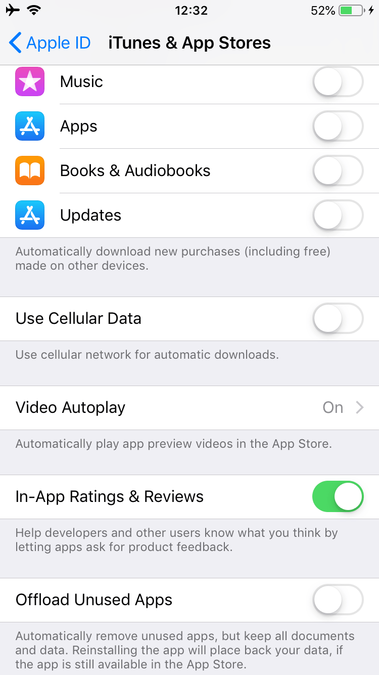 iTunes and App Store settings on iPhone