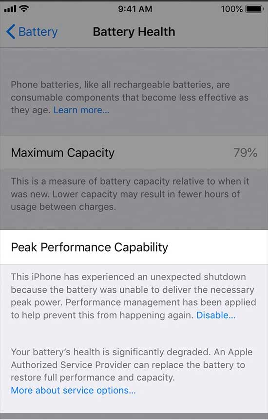 Peak Performance Capability for checking iPhone performance