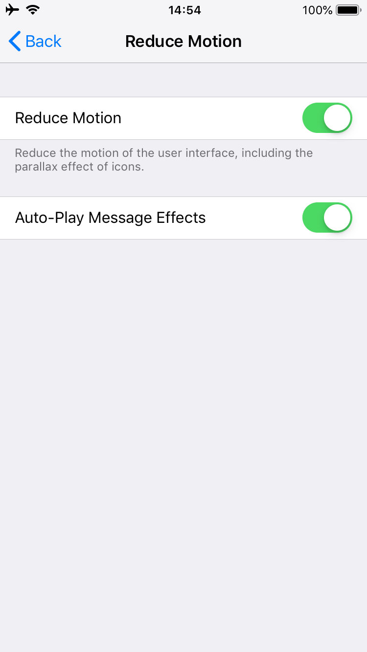 Reduce Motion option settings on iPhone