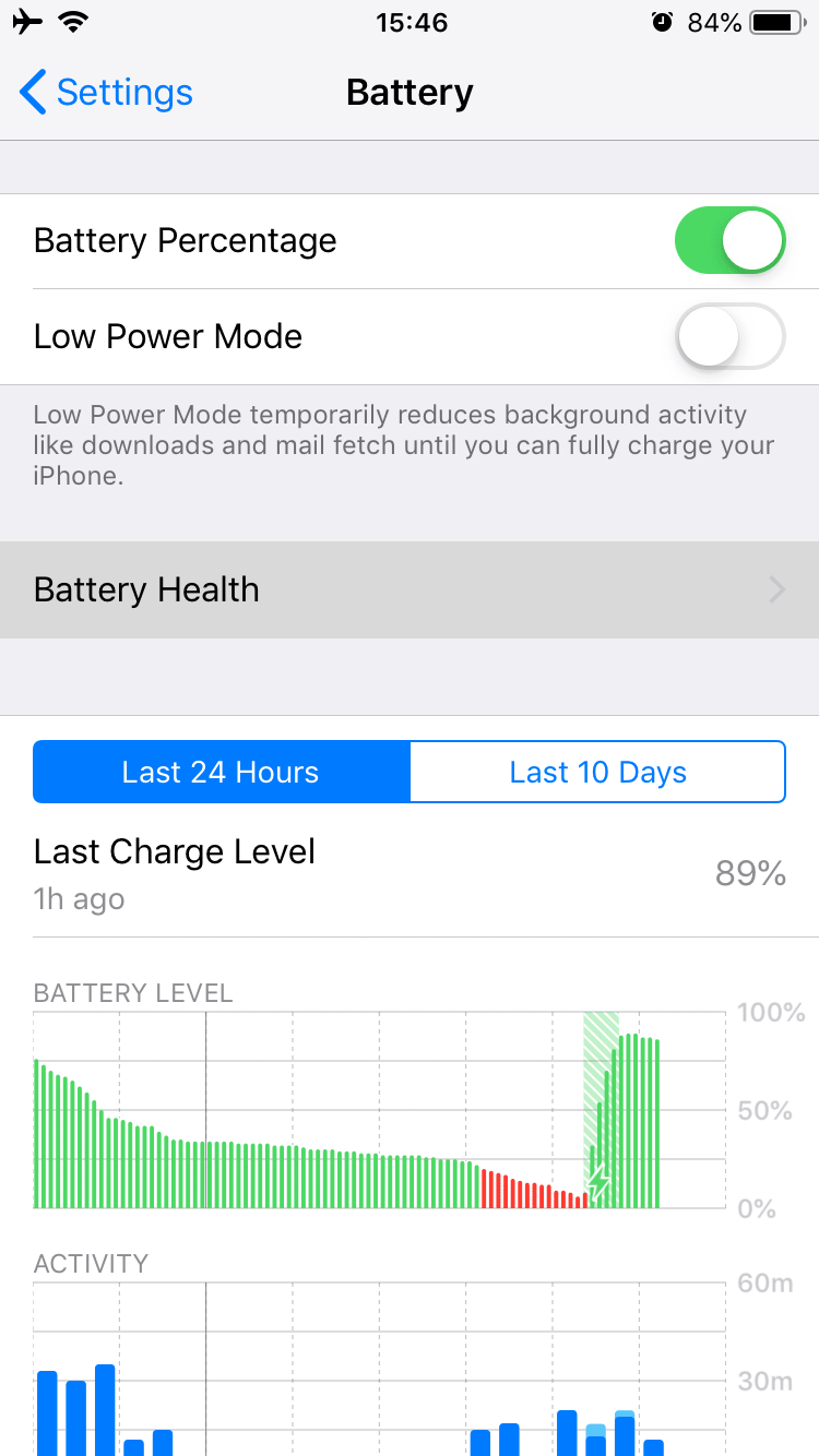 iPhone settings - Battery section