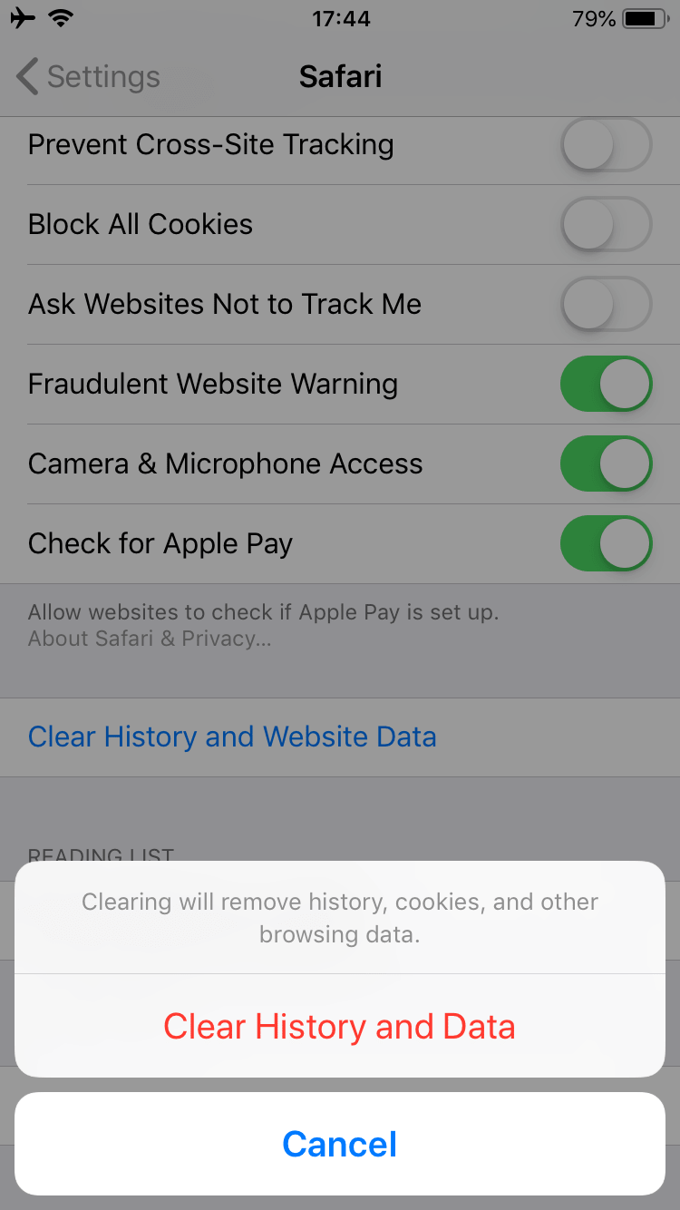 clearing Safari cache on iPhone