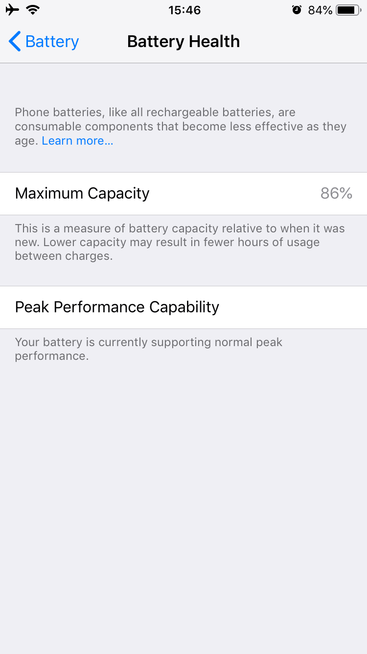 IPhone settings - Battery Health section
