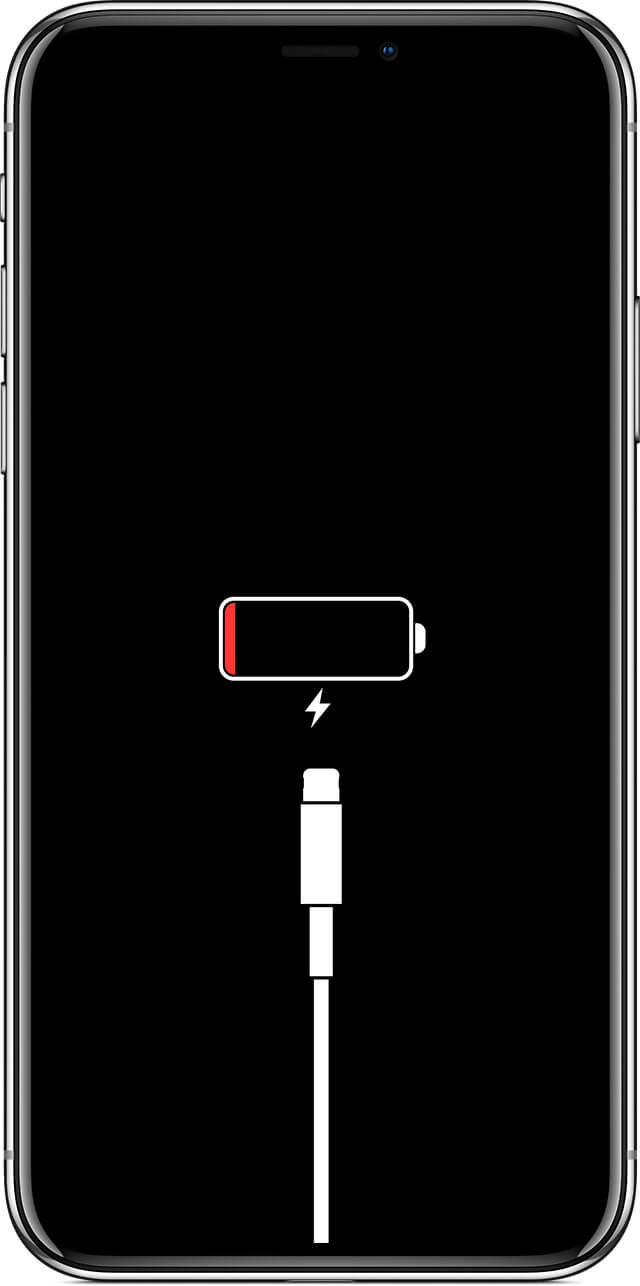 iphone screen showing critical low battery charge