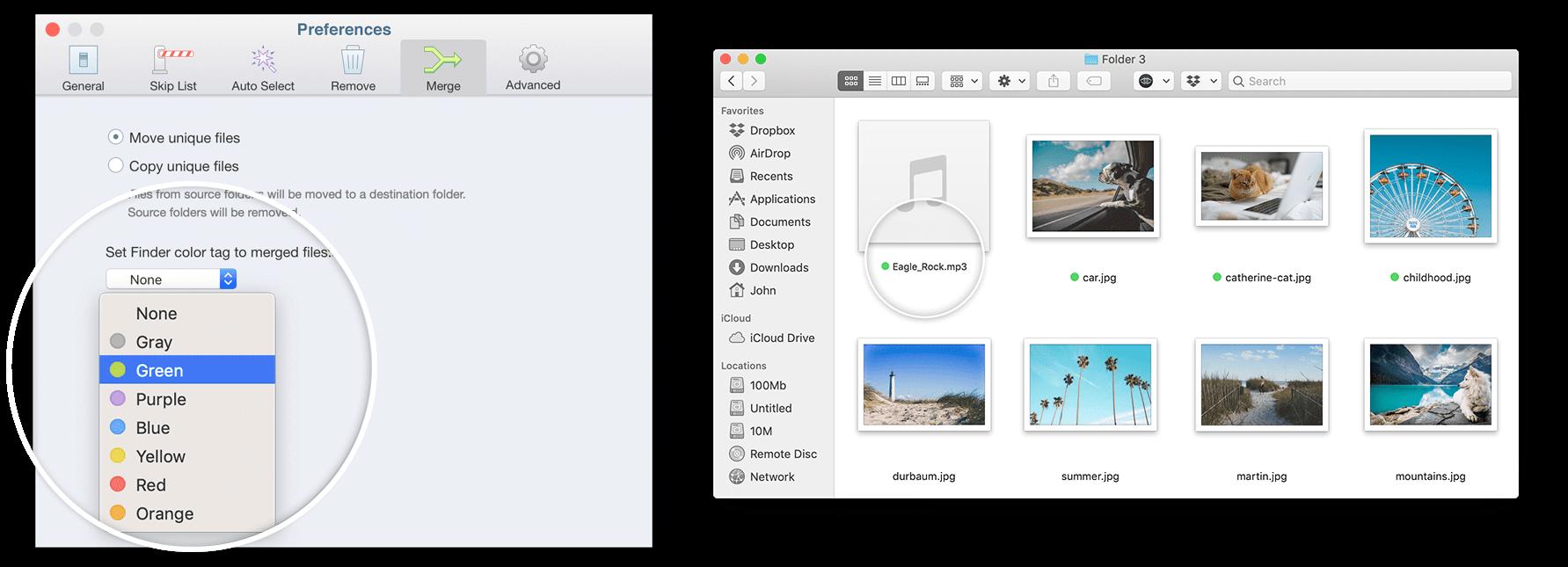 Merge folders tag color