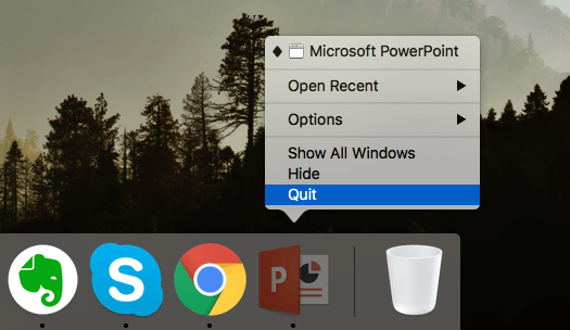 Close PowerPoint on Mac