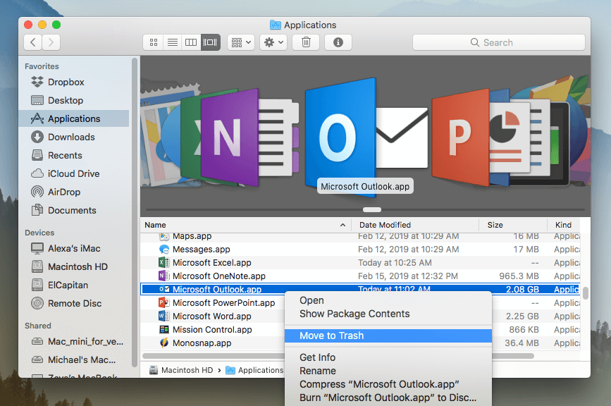 Move To Trash command for Outlook application is selected in Finder application