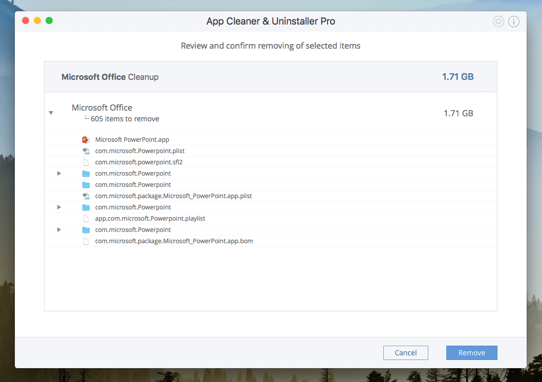 remove powerpoint with App cleaner @ Uninstaller