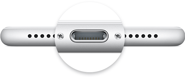 iphone usb port and cable and adapter
