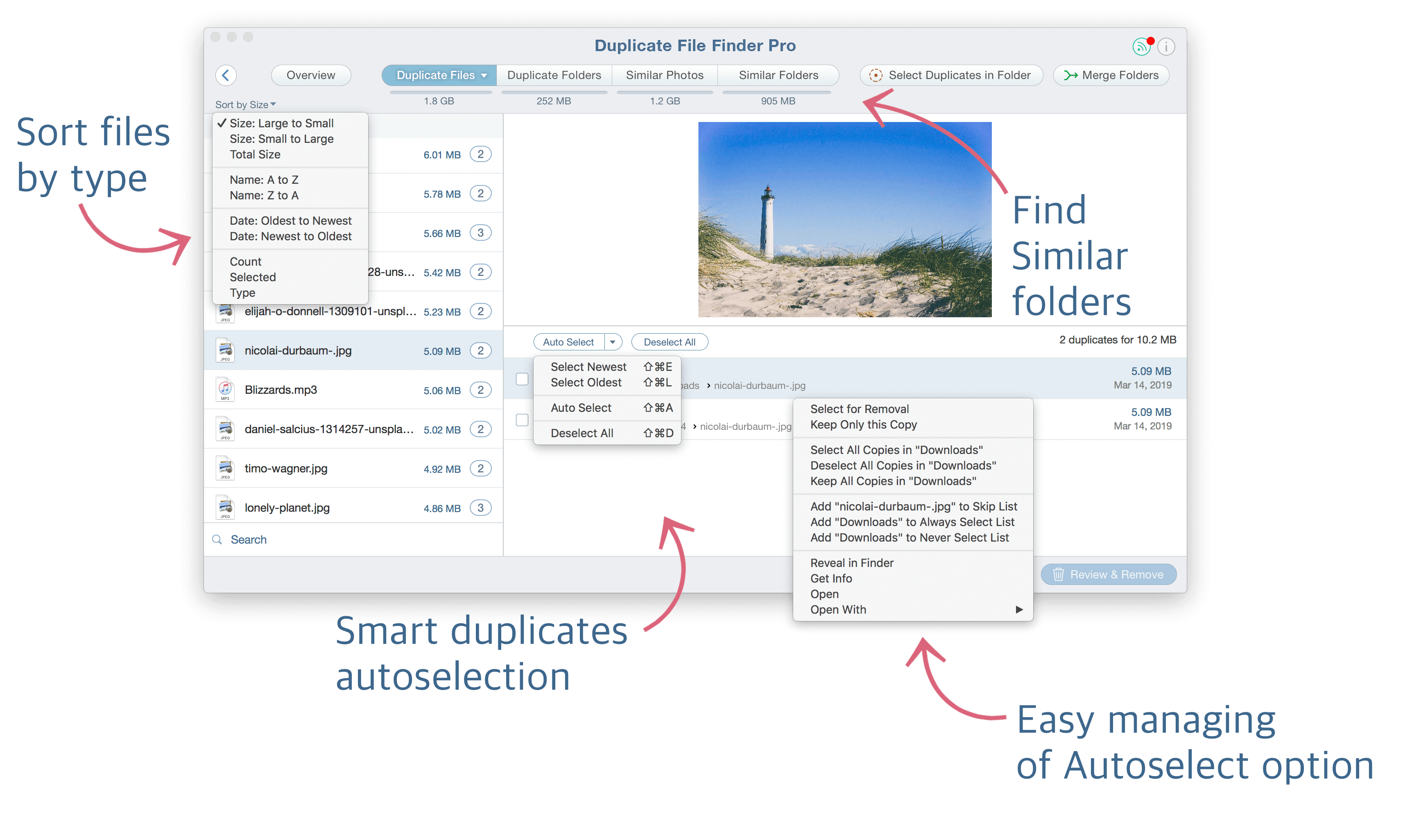 Features highlighted in Duplicate File Finder
