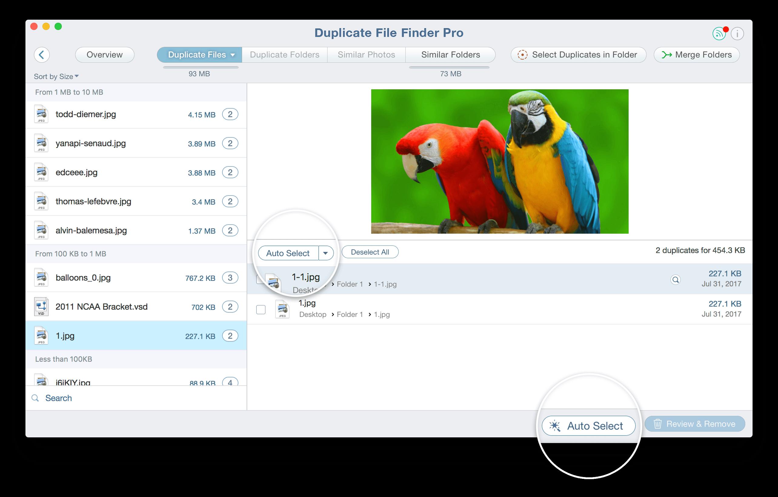 Select duplicate files