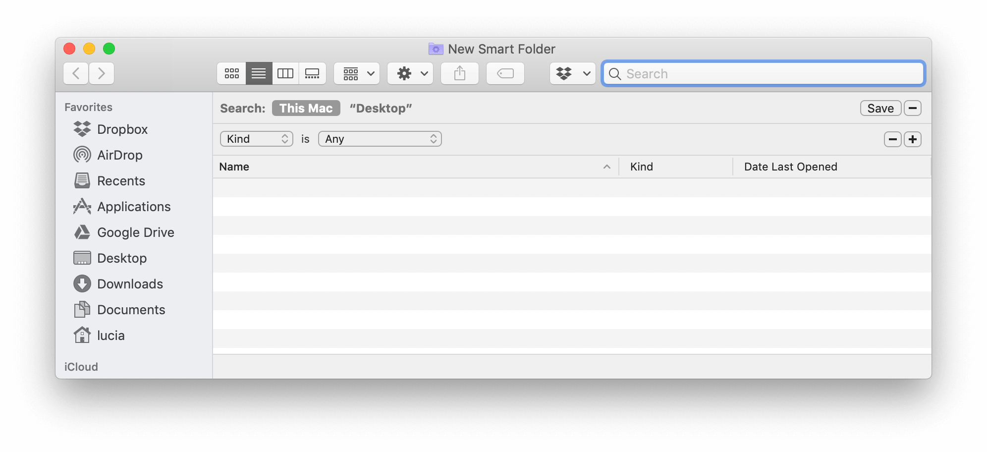 New Smart Folder on Mac