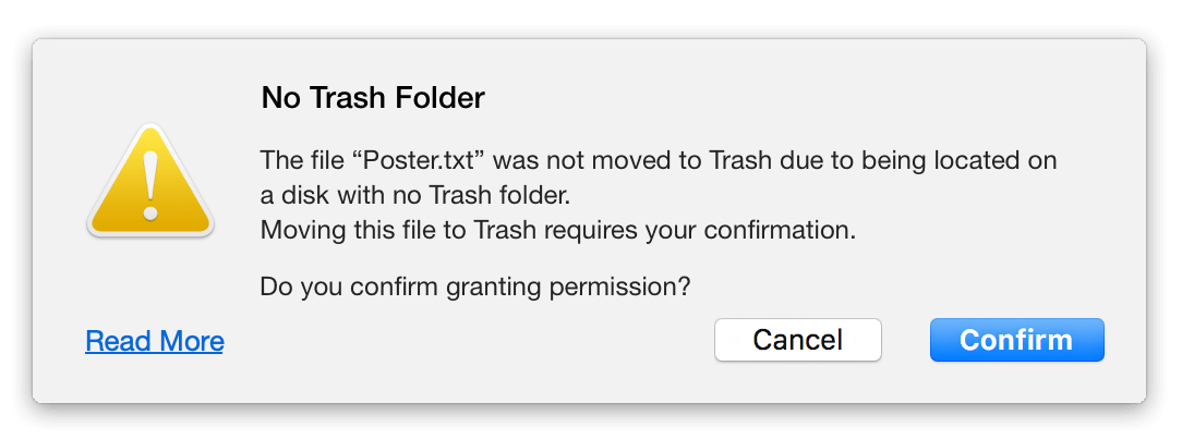no trash folder