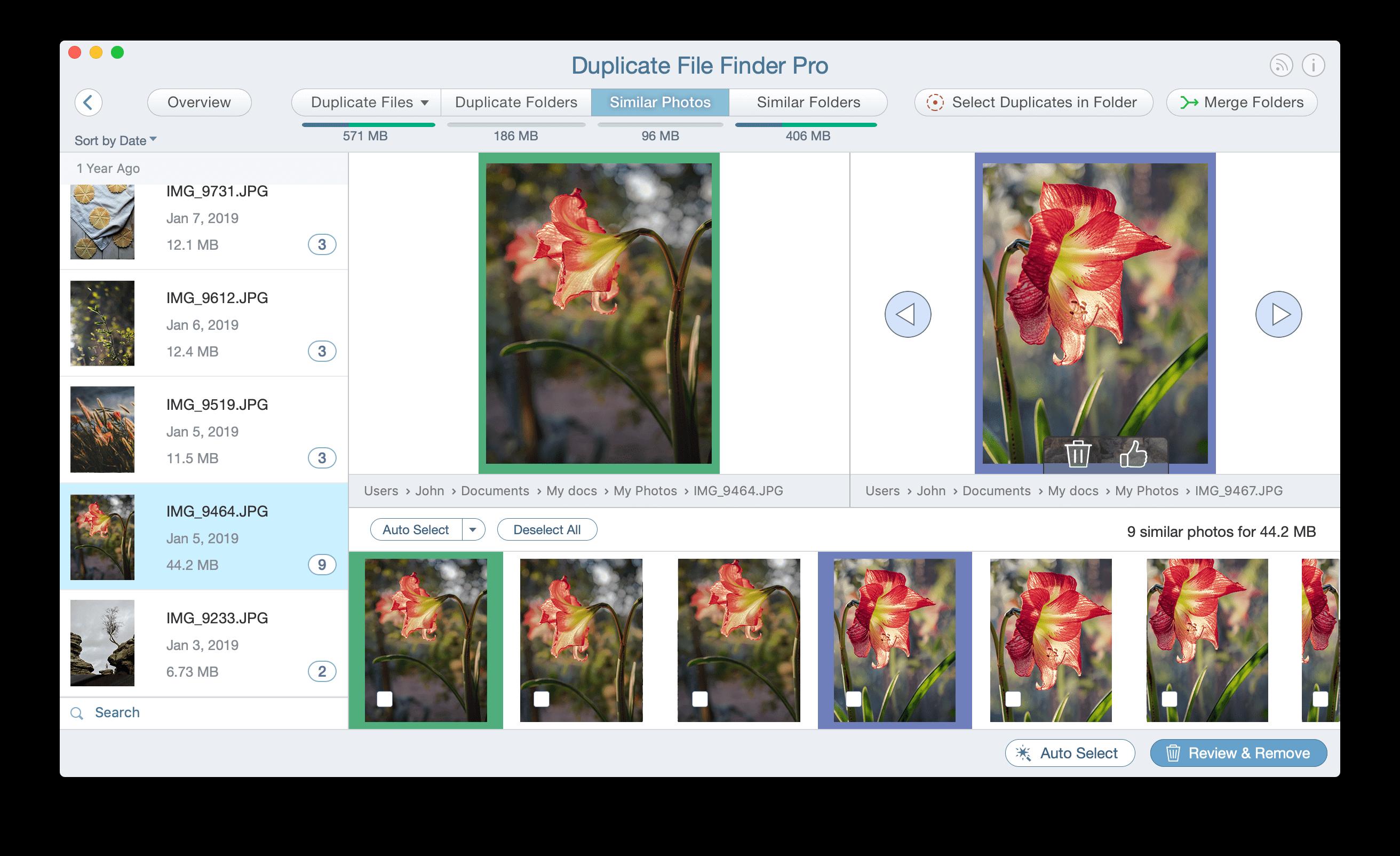 Similar photos in Duplicate File Finder window