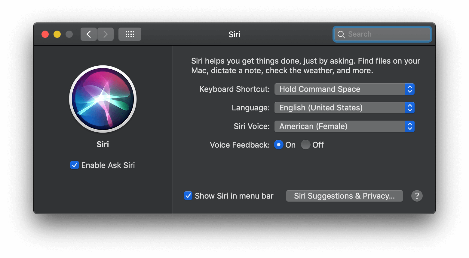 activate siri on mac