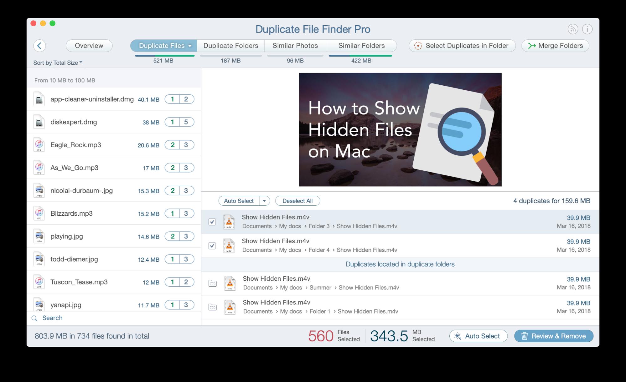 autoselect duplicate files