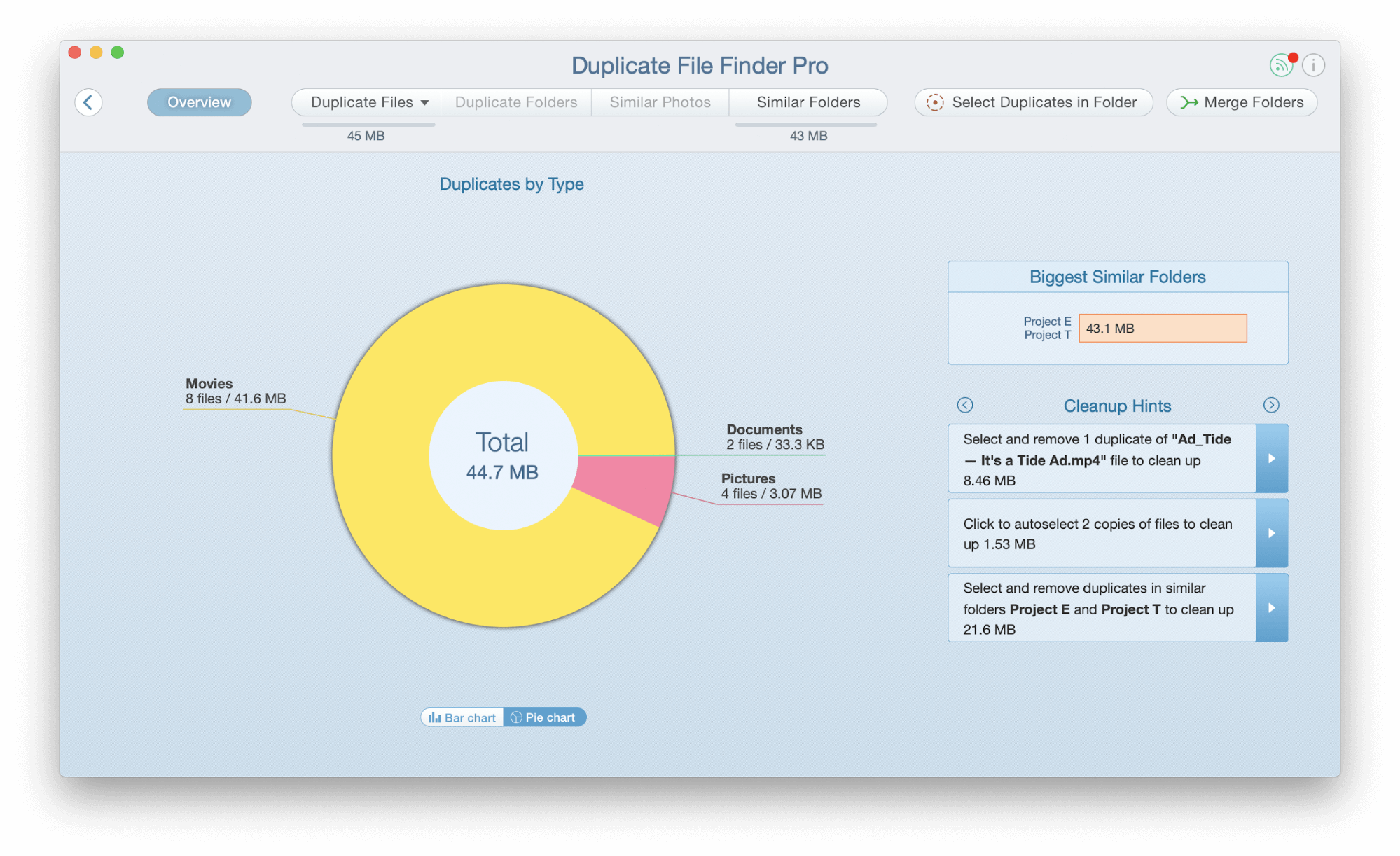 Pie Chart mode in Duplicate File Finder
