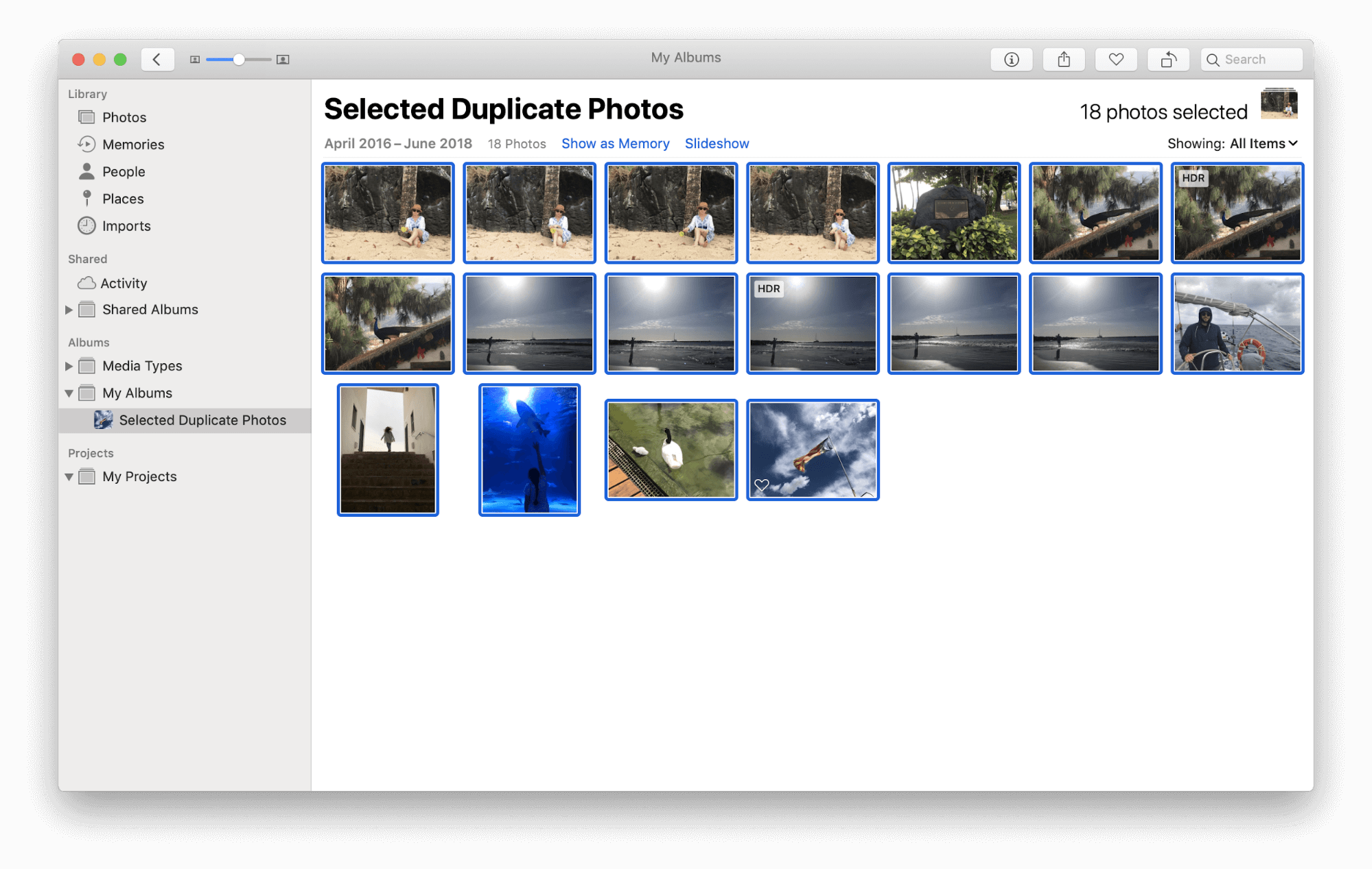 delete duplicates from photos library