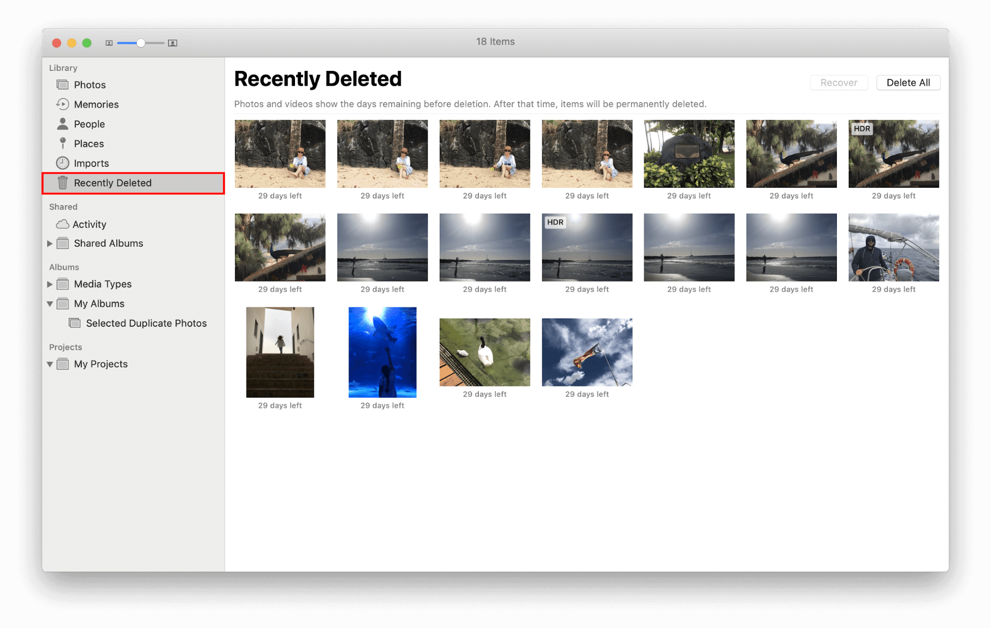 delete photos from photo library
