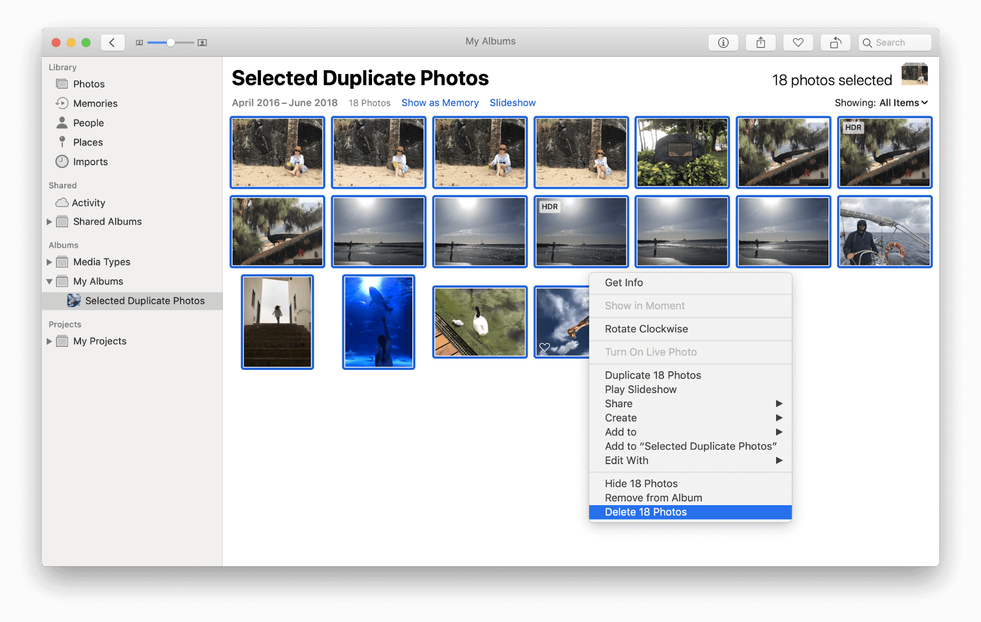 delete photos on mac