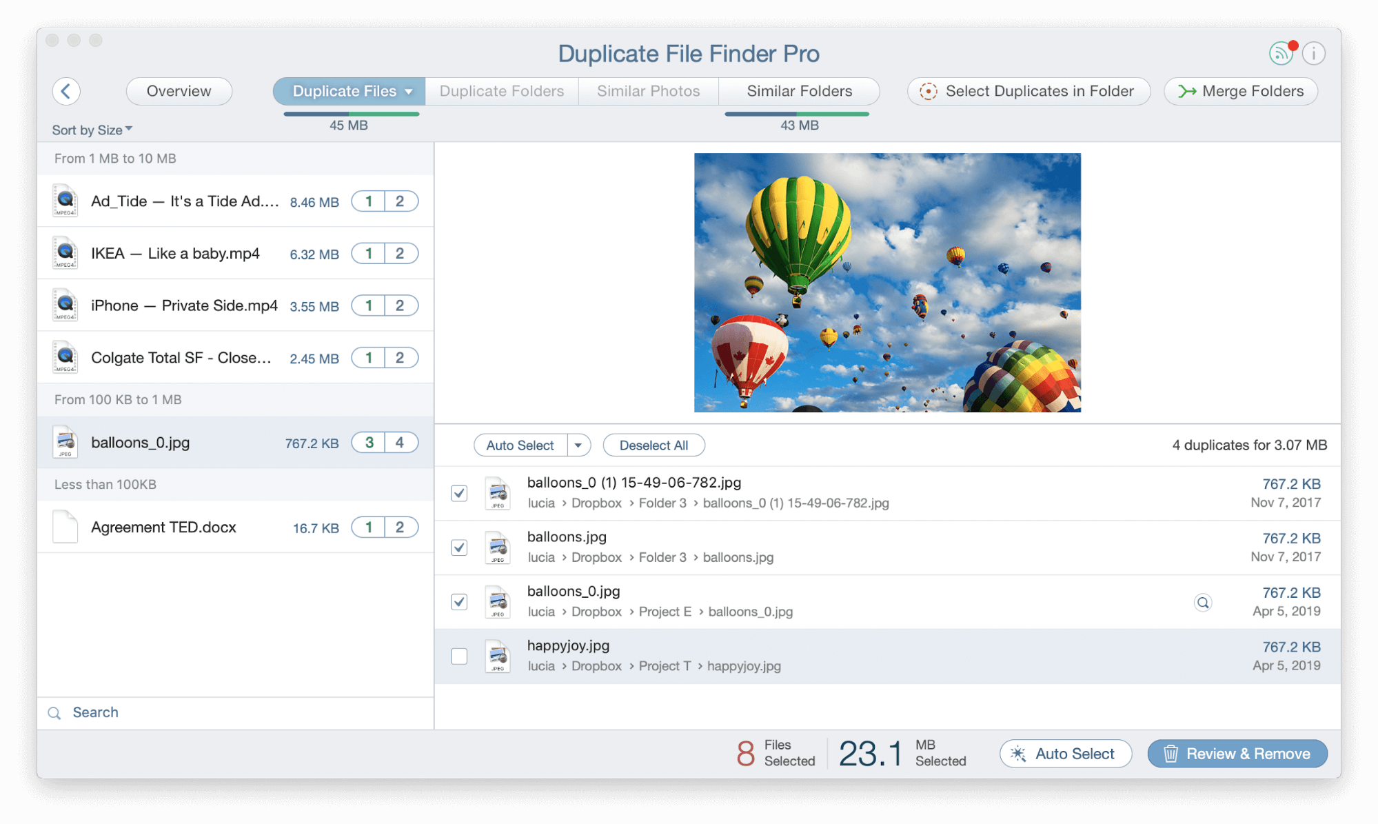 how to remove duplicate photos in dropbox