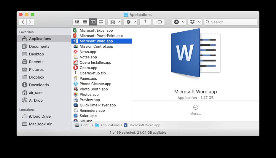 microsoft word on mac