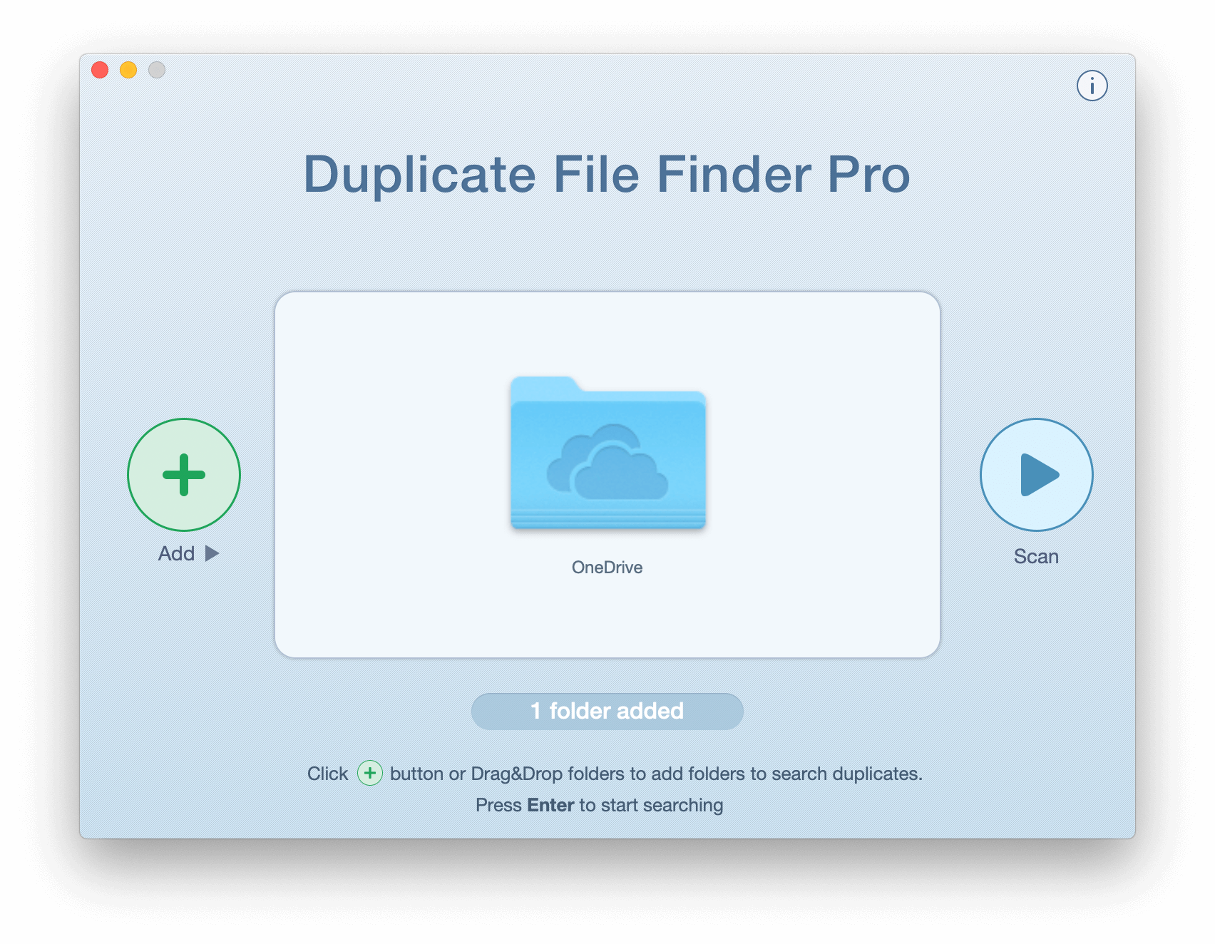 Duplicate File Finder window showing OneDrive folder selected for scan
