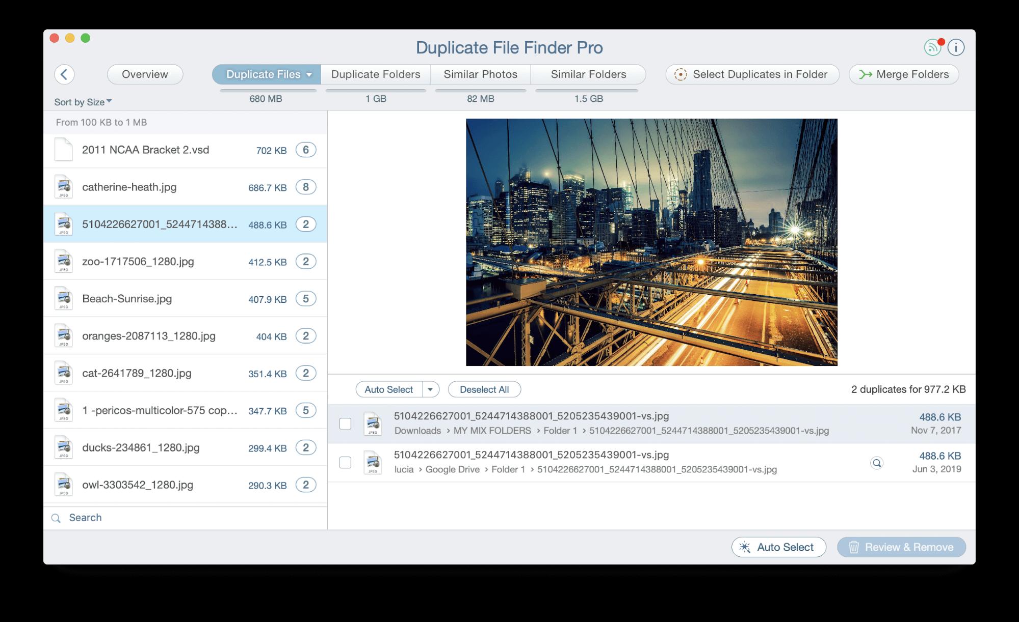 select duplicate in folders