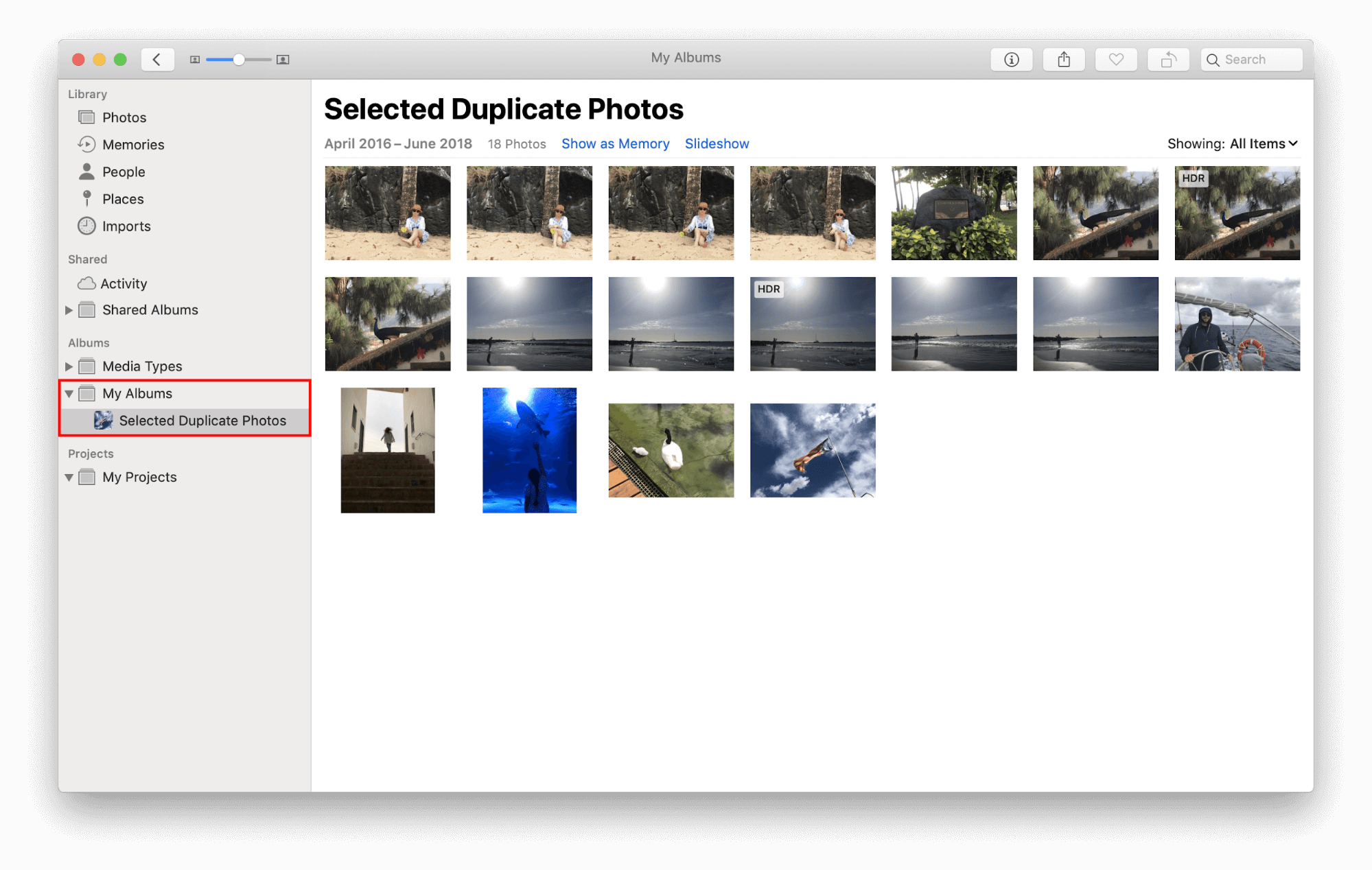select duplicate photos on mac