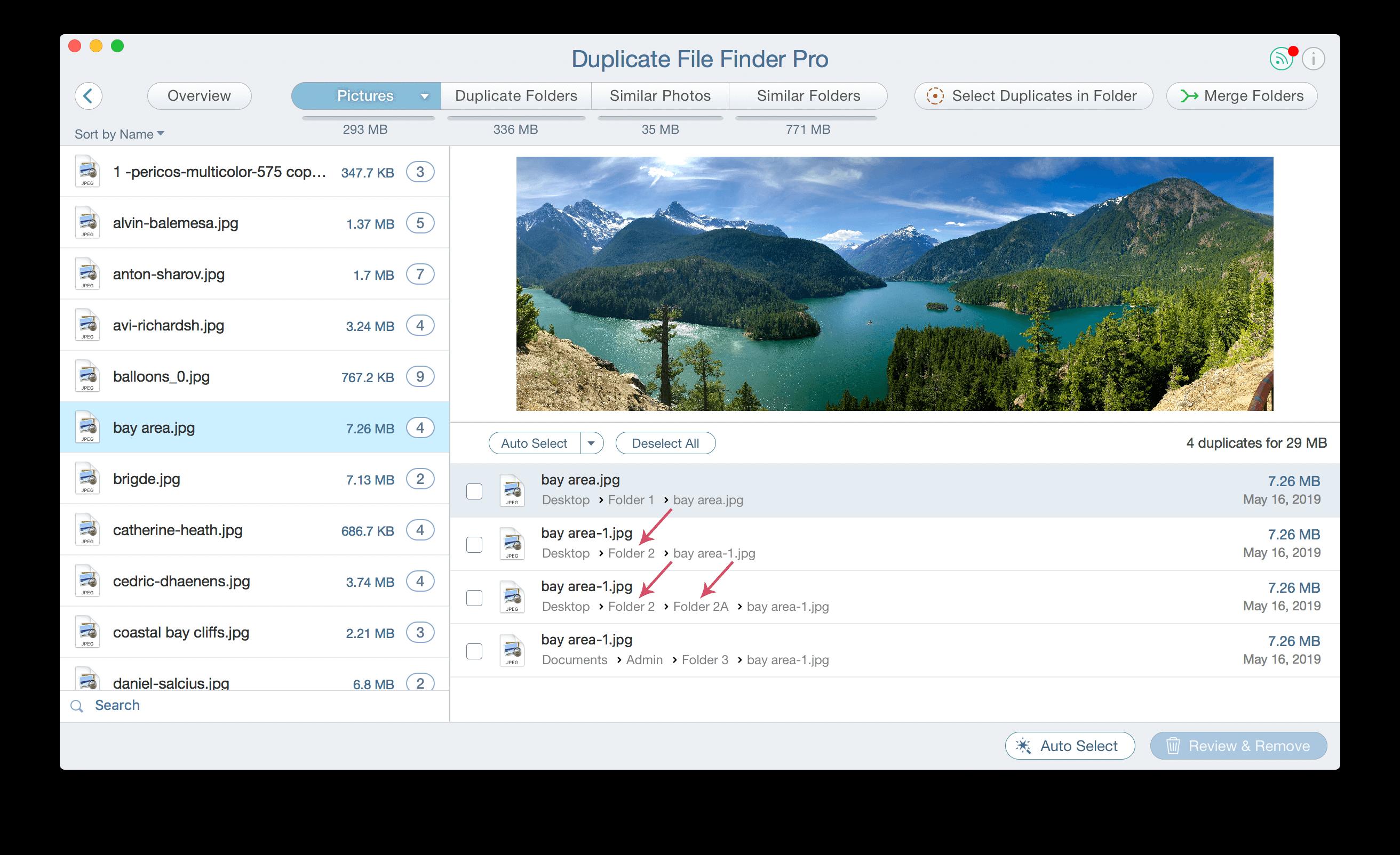 select folders for duplicates