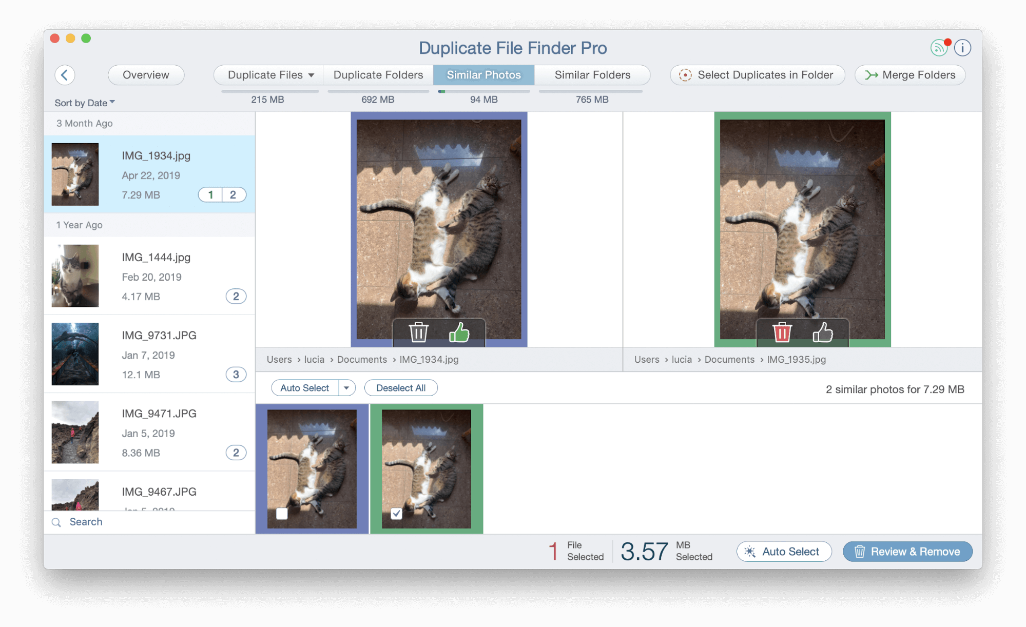 Duplicate File Finder -Similar photos tab