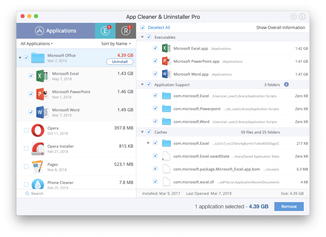 uninstall office 365 on mac by App Cleaner