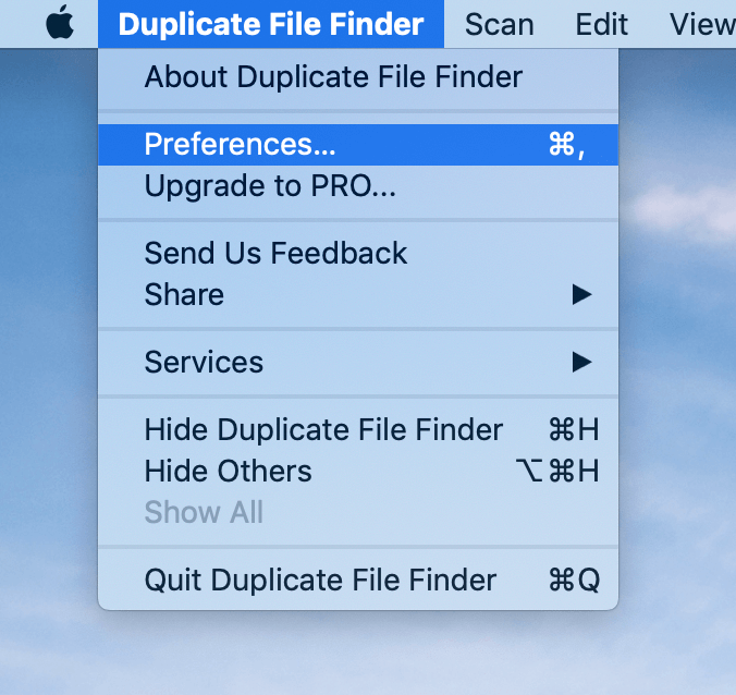 Preferences of Duplicate File Finder