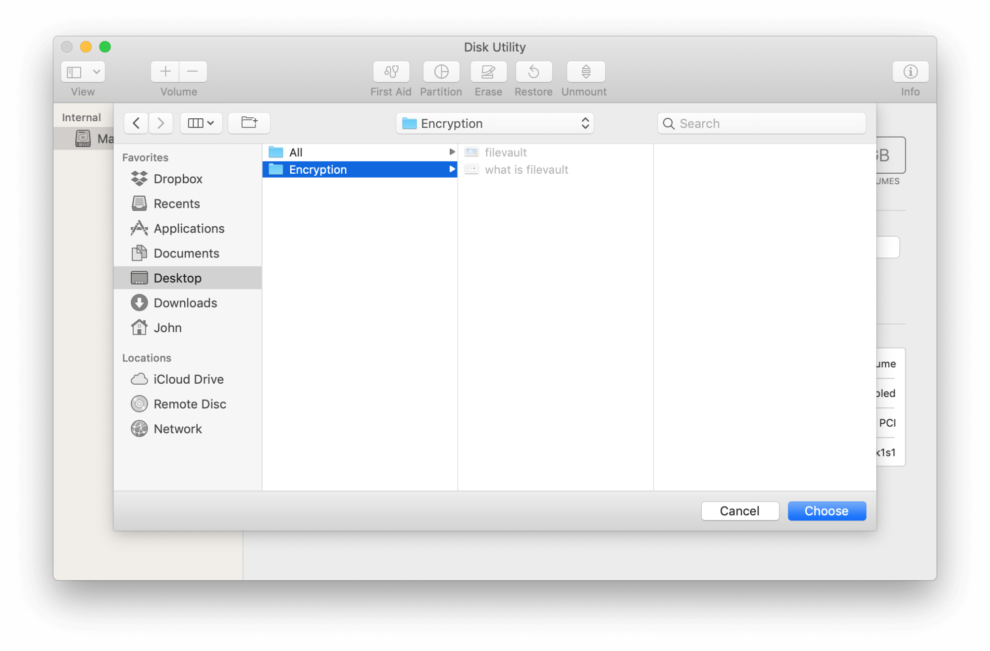encryption of filevault