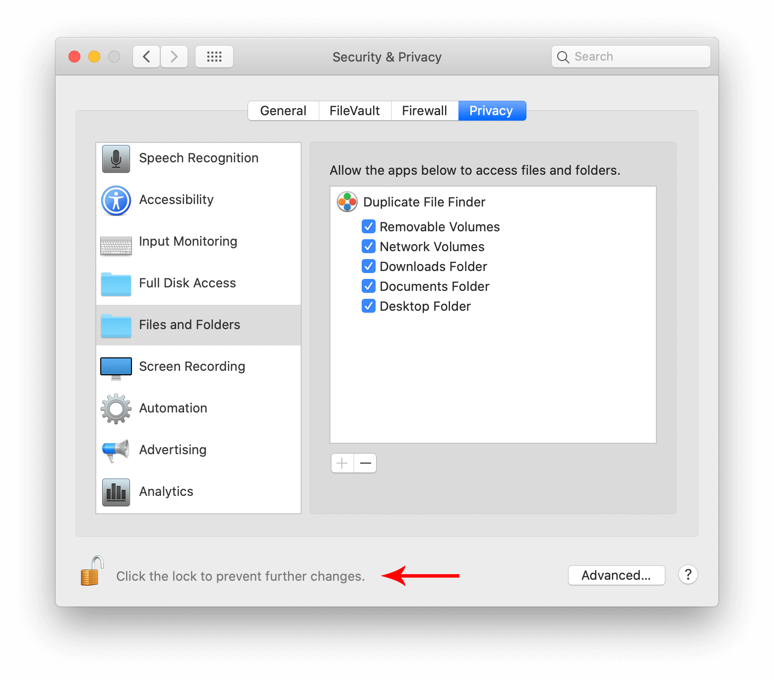 Files and folders option in Security and privacy preferences