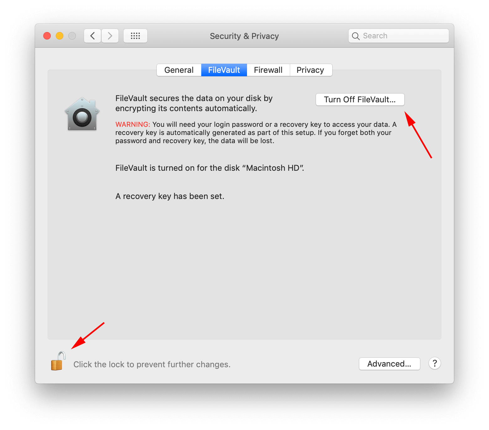 How to turn off FileVault