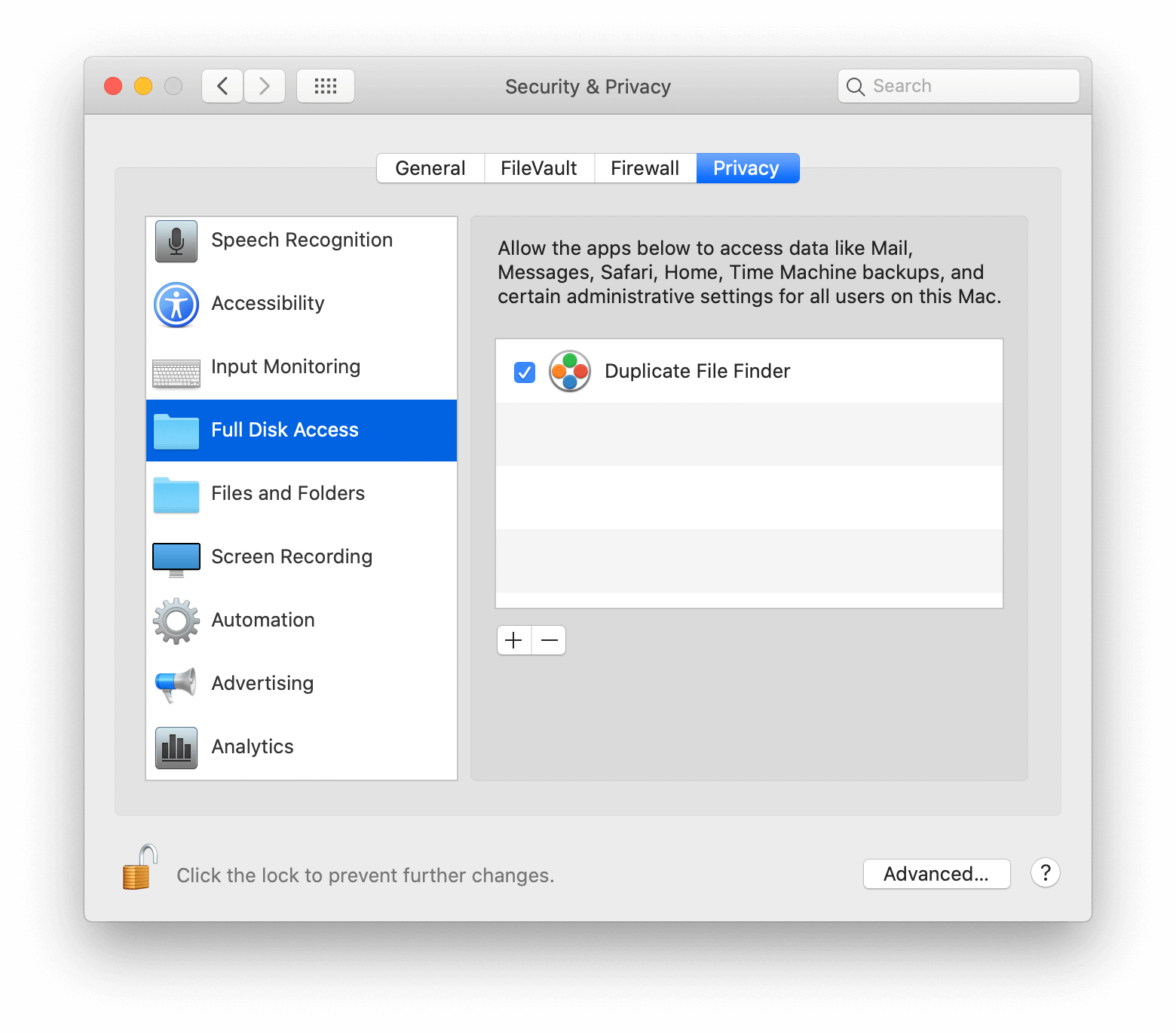 full disk access