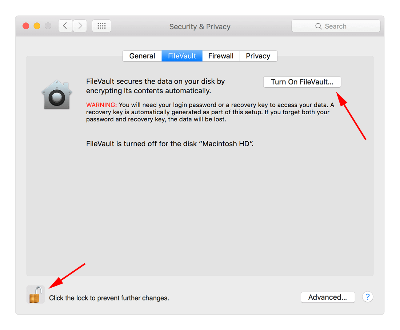 How to turn on FileVault