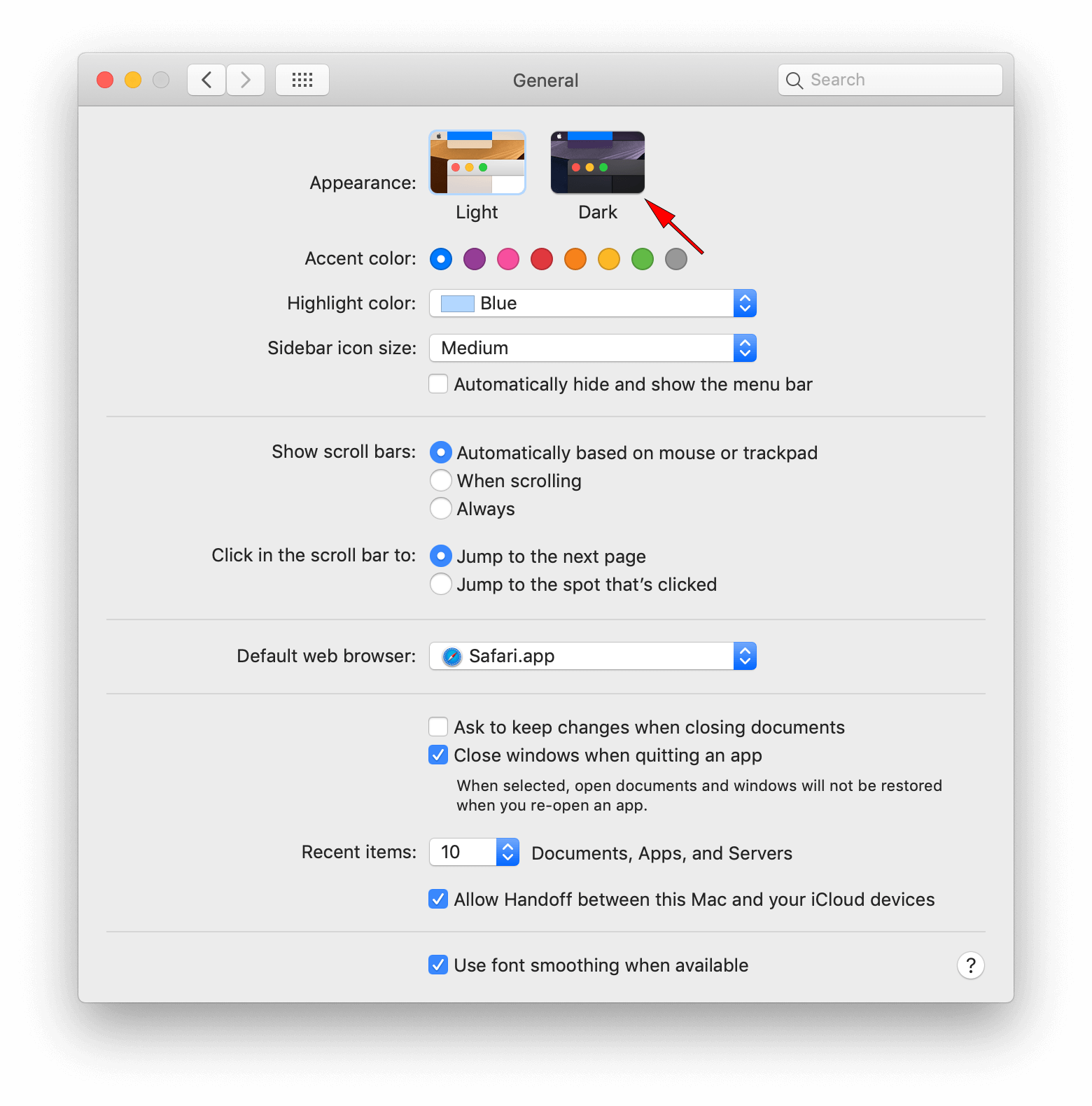 dark mode on mac