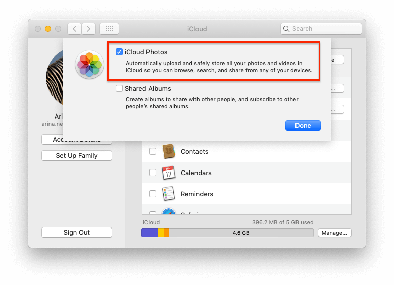 enabled iCloud Photos on Mac