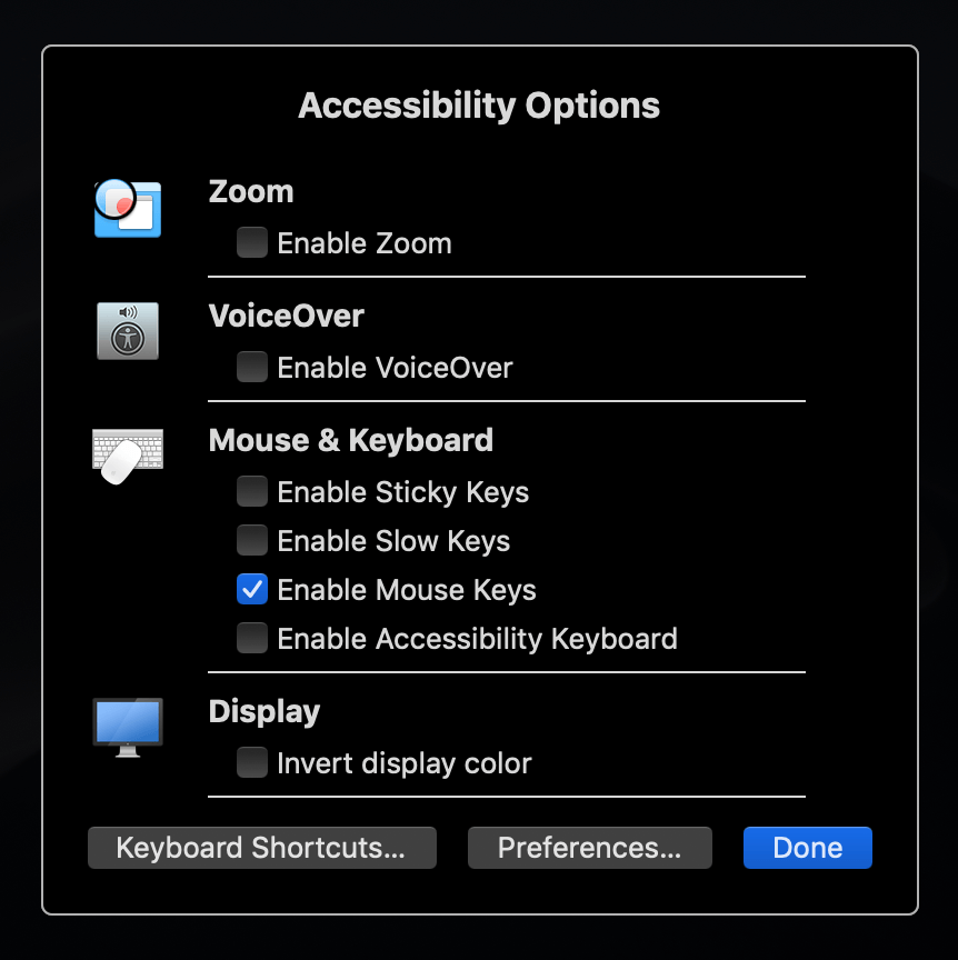Accessibility Options window for MacBook trackpad
