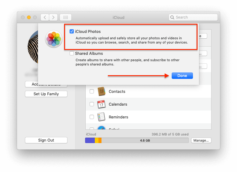 iCloud settings panel on Mac with enabled photos synchronization