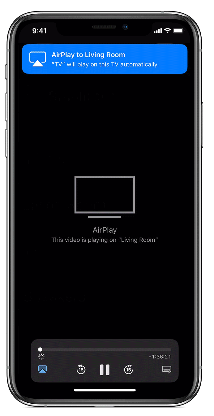 iPhone screen showing Airplay status for video