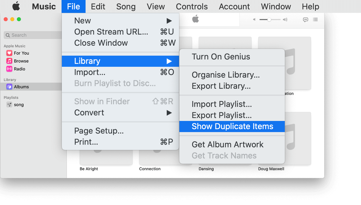 delete duplicate on music