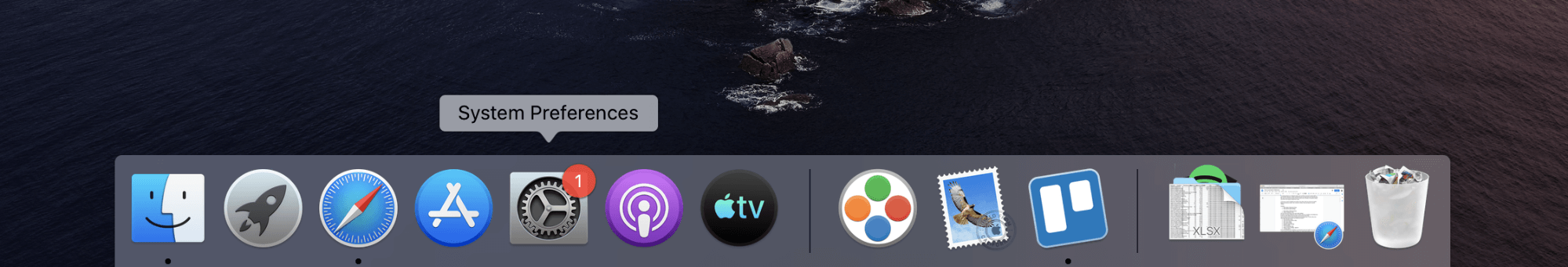 System Preferences command is selected from Dock panel